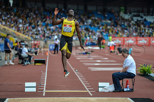 26.06.2016. Alexander Stadium, Birmingham, England. British Athletics Championships. JJ Jegede jumping to 3rd place in the Long Jump.