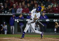 NWA Democrat-Gazette/BEN GOFF @NWABENGOFF<br /> CJ Willis of LSU hits a single in the 7th inning vs Arkansas Thursday, May 9, 2019, at Baum-Walker Stadium in Fayetteville.