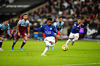 28th December 2019; London Stadium, London, England; English Premier League Football, West Ham United versus Leicester City; Demarai Gray of Leicester City takes the penalty but is saved by Goalkeeper Lukasz Fabianski of West Ham United - Strictly Editorial Use Only. No use with unauthorized audio, video, data, fixture lists, club/league logos or 'live' services. Online in-match use limited to 120 images, no video emulation. No use in betting, games or single club/league/player publications