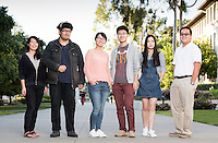 "From left: Yiyun ""Eva"" Wang '17, Huntington Wu '19, Shuyi ""Eliza"" Chen '17, Chenli ""Henry"" Yuan '18, Lyra Yu '18 and Nick Yeh '17 strike a pose near the quad, March 17, 2016.<br />