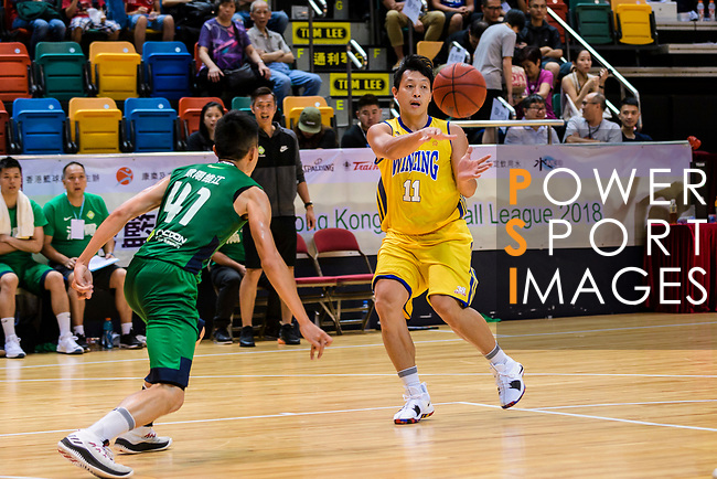 Poon Chi Ho #11 of Winling Basketball Club passes the ball against the Tycoon during the Hong Kong Basketball League playoff game between Winling and Tycoon at Queen Elizabeth Stadium on July 24, 2018 in Hong Kong. Photo by Marcio Rodrigo Machado / Power Sport Images