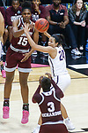 DALLAS, TX - MARCH 31: Teaira McCowan #15 of the Mississippi State Lady Bulldogs makes a pass to Breanna Richardson #3 of the Mississippi State Lady Bulldogs during the 2017 Women's Final Four at American Airlines Center on March 31, 2017 in Dallas, Texas. (Photo by Tim Nwachukwu/NCAA Photos via Getty Images)