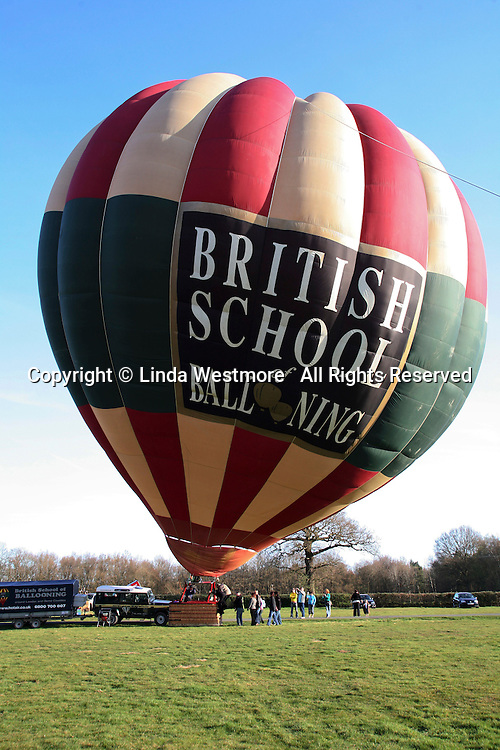 The balloon's nylon envelope fully inflated with hot air from the propane burners, British School of ballooning, Ebernoe, West Sussex.