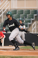 Jose Jimenez (25) of the Savannah Sand Gnats follows through on his swing at Fieldcrest Cannon Stadium in Kannapolis, NC, Sunday July 20, 2008. (Photo by Brian Westerholt / Four Seam Images)