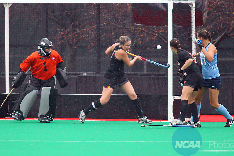 20 NOV 2011:  Jemma Buckley (7) of the University of Maryland blocks a shot on goal against the University of North Carolina during the Division I Women's Field Hockey Championship between Maryland and North Carolina was held at Trager Stadium on the University of Louisville campus in Louisville, KY. Maryland defeated North Carolina 3-2 in overtime to win the national title. Jonathan Palmer/ NCAA Photos