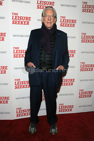 NEW YORK, NY - JANUARY 11:  Donald Sutherland at The Leisure Seeker New York Screening at AMC Loews Lincoln Square in New York City on January 11, 2018. Credit: John Palmer/MediaPunch