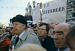 Rev Ian Paisley Northern Ireland No Surrender banners. 1981 The Troubles Belfast Northern Ireland.