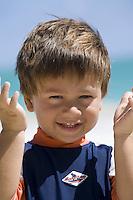 A boy at Kailua Beach, Oahu, Hawaii.