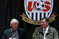 INDIANAPOLIS, IN - January 18, 2013: 1990 World Cup coach Bob Gansler (left) with 1998 World Cup coach Steve Sampson. U.S. Soccer hosted a World Cup Coaches and Captains panel at the Indiana Convention Center in Indianapolis, Indiana during the NSCAA Annual Convention.