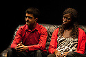"18/05/2011.  ""Mad Blud"" opens at Theatre Royal Stratford East. A new work exploring the reality behind the headlines of knife crime. L to R: Divian Ladwa and Anna-Maria Nabirye. Photo credit should read Jane Hobson"