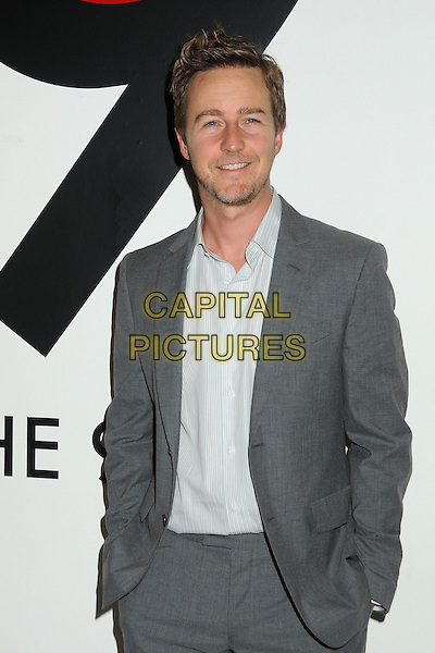 Edward Norton.All In For The 99 Percent Event hosted by Van Jones, Rebuild The Dream and MoveOn.org held at 400 S La Brea, Los Angeles, California, USA, .31st March 2012..half length suit  grey gray beard facial hair stubble hands in pockets .CAP/ADM/BP.©Byron Purvis/AdMedia/Capital Pictures.