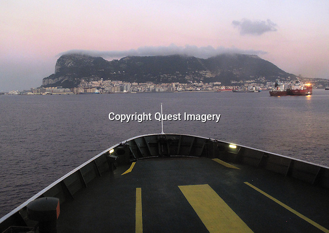 A ferry makes its way across the Strait of Gibraltar from Morocco to the Rock of Gibraltar<br />