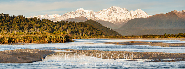 Sunset over Cook River with Southern Alps, Aoraki Mount Cook and Mount Tasman in background, Westland Tai Poutini National Park, UNESCO World Heritage Area, West Coast, New Zealand, NZ