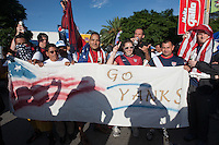 USA fans hold a banner before the United States played Guatemala at Estadio Mateo Flores in Guatemala City, Guatemala in a World Cup Qualifier on Tue. June 12, 2012.