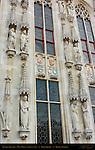 Gothic Statuary Town Hall Stadhuis 1376, Burg Square, Bruges, Brugge, Belgium