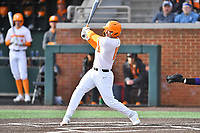 University of Tennessee Landon Gray (19) swings at a pitch during a game against Western Illinois at Lindsey Nelson Stadium on February 15, 2020 in Knoxville, Tennessee. The Volunteers defeated Leathernecks 19-0. (Tony Farlow/Four Seam Images)