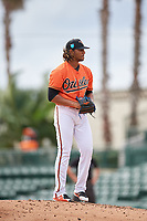 Baltimore Orioles pitcher Marcos Molina (44) gets ready to deliver a pitch during a Florida Instructional League game against the Boston Red Sox on October 8, 2018 at the Ed Smith Stadium in Sarasota, Florida.  (Mike Janes/Four Seam Images)