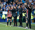 Enda Stevens of Sheffield Utd receives instructions from Chris Wilder manager of Sheffield Utd during the Championship match at the Hillsborough Stadium, Sheffield. Picture date 24th September 2017. Picture credit should read: Simon Bellis/Sportimage