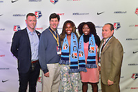 Los Angeles, CA - Thursday January 12, 2017: Sky Blue FC Head Coach Christy Holly, Kayla Mills, Miranda Freeman, General Manager Tony Novo during the 2017 NWSL College Draft at JW Marriott Hotel.