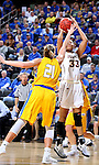 SIOUX FALLS, SD: MARCH 6: Mikale Rogers #33 from IUPUI shoots over Clarissa Ober #21 from South Dakota State during the Summit League Basketball Championship on March 6, 2017 at the Denny Sanford Premier Center in Sioux Falls, SD. (Photo by Dave Eggen/Inertia)