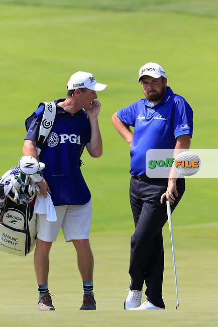 Shane LOWRY (IRL) and caddy Dermot Byrne on the 6th green during Friday's Round 2 of the 97th US PGA Championship 2015 held at Whistling Straits, Mosel, Kohler, Wisconsin, United States of America. 14/08/2015.<br /> Picture Eoin Clarke, www.golffile.ie