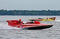 """Jack Schafer, U-36 """"Miss U. S."""" (1956 Lauterbach Hydroplane) and Bill Black, U-55 """"Gale V"""" (replica of the 1955 Gold Cup winner)"""