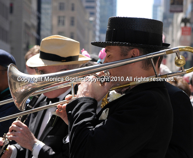 Easter Parade in New York City. Swing Band playing on Fifth Avenue in New York City during the Easter Day Parade.