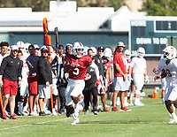 Stanford, California - August 11, 2019: Stanford Football scrimmage at Elliott Field in Stanford, California.