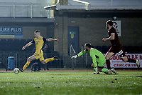 Charlie Stimson of Hornchurch scores the first goal for his team during Chelmsford City vs AFC Hornchurch, BBC Essex Senior Cup Football at Melbourne Park on 4th February 2019