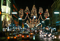 Christmas lights in Regent's Street, London, UK