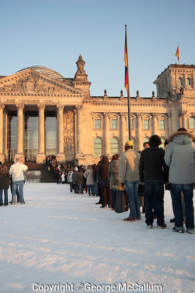 Tourists in front of Reichstag parliment building in Berlin Germany