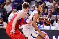 Real Madrid's Anthony Randolph and CSKA Moscow Andrey Vorontsevich during Turkish Airlines Euroleague match between Real Madrid and CSKA Moscow at Wizink Center in Madrid, Spain. January 06, 2017. (ALTERPHOTOS/BorjaB.Hojas)