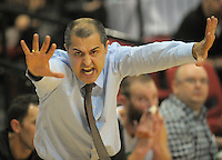 Jets coach Mike Kalavros makes a point during the national basketball league match between Wellington Saints and Manawatu Jets at TSB Bank Arena, Wellington, New Zealand on Tuesday, 7 May 2013. Photo: Dave Lintott / lintottphoto.co.nz