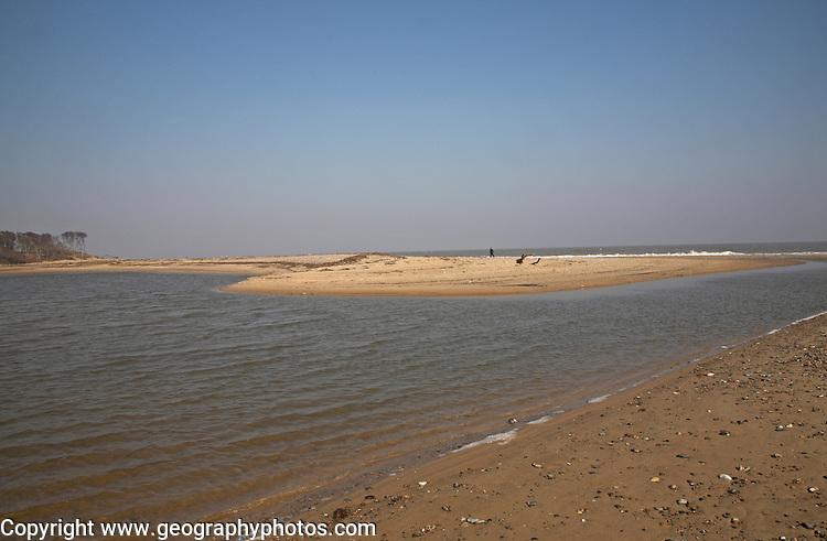 Sea breach of beach lagoon, Benacre Broad, national nature reserve, Suffolk, England