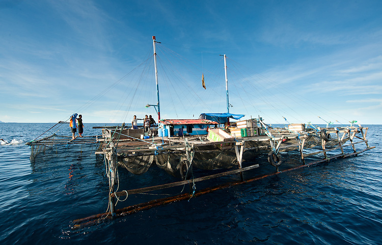 A traditional Papuan fishing platform (bagan), home to fishermen for months on end