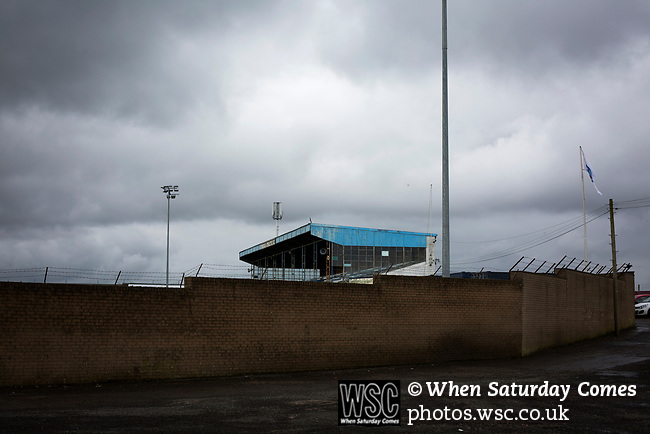 Forfar Athletic 1 Edinburgh City 2, 02/02/2017. Station Park, SPFL League 2. An exterior view of the main stand at Station Park, pictured before Forfar Athletic took on Edinburgh City in an SPFL League 2 fixture. It was the club's sixth and final meeting of City's inaugural season since promotion from the Lowland League the previous season. City came from behind to win this match 2-1, watched by a crowd of 446. Photo by Colin McPherson.