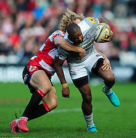 Aled Brew of Bath Rugby looks to get past Billy Twelvetrees of Gloucester Rugby. Aviva Premiership match, between Gloucester Rugby and Bath Rugby on October 1, 2016 at Kingsholm Stadium in Gloucester, England. Photo by: Patrick Khachfe / Onside Images
