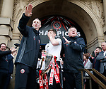 Alan Knill and Chris Wilder tease David Brooks of Sheffield Utd asking to make a speech during the open top bus parade from Bramall Lane Stadium to Sheffield Town Hall, Sheffield. Picture date: May 2nd 2017. Pic credit should read: Simon Bellis/Sportimage