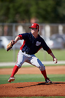 GCL Nationals starting pitcher Ryan Williamson (40) delivers a pitch during a game against the GCL Cardinals on August 5, 2018 at Roger Dean Chevrolet Stadium in Jupiter, Florida.  GCL Cardinals defeated GCL Nationals 17-7.  (Mike Janes/Four Seam Images)