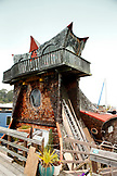 USA, California, Sausalito, a wooden house boat in the design of an owl in Sausalito