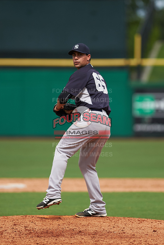 New York Yankees pitcher Gabriel Encinas (65) during an instructional league game against the Philadelphia Phillies on September 29, 2015 at Brighthouse Field in Clearwater, Florida.  (Mike Janes/Four Seam Images)