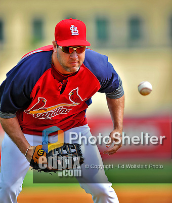 8 March 2012: St. Louis Cardinals' infielder Lance Berkman warms up prior to a Spring Training game against the Boston Red Sox at Roger Dean Stadium in Jupiter, Florida. The Cardinals defeated the Red Sox 9-3 in Grapefruit League action. Mandatory Credit: Ed Wolfstein Photo