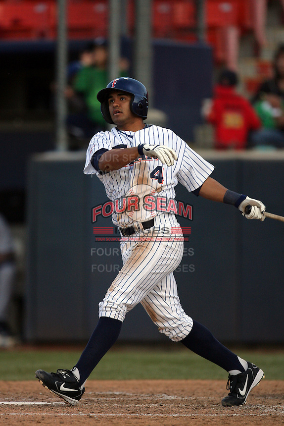 March 27, 2010: Christian Colon of Cal. St. Fullerton during game against Hawaii at Goodwin Field in Fullerton,CA.  Photo by Larry Goren/Four Seam Images