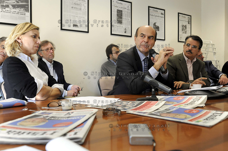 Roma, 20 Ottobre 2009.Redazione del quotidiano  L'Unità .Forum con Pier Luigi Bersani.La Direttora Concita De Gregorio