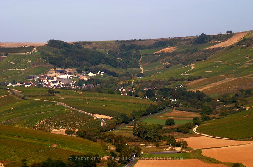 Vineyard. View of Chavignol from Sancerre village.