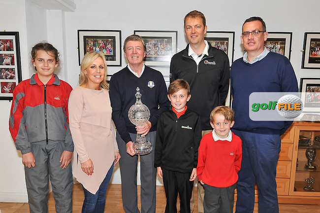 11.05.2016<br /> Sean Reddy with golfer Des Smyth and Rory Colville, Irish Open Golf Championship Director, during the visit of the Dubai Duty Free Irish Open Golf trophy to Gaelscoil Ui Drisceoil in Glanmire, Co Cork. Also included are Sean's parents Alison and Simon, his sister Emma and his brother Fionn.<br /> Picture: Golffile | David Keane<br /> <br /> All photo usage must carry mandatory copyright credit (&copy; Golffile | David Keane)