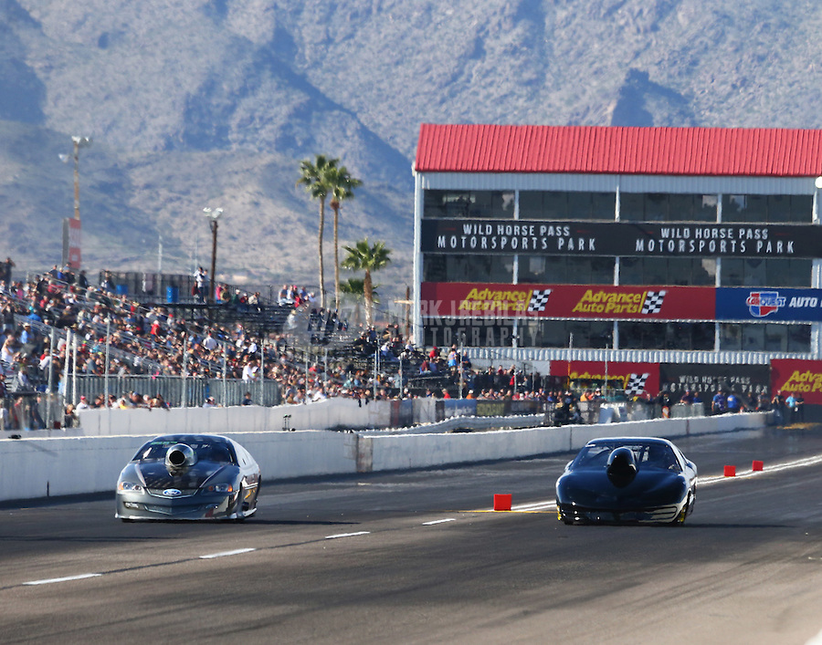 Feb 25, 2017; Chandler, AZ, USA; NHRA top sportsman driver Monte Green (left) races alongside Ted Kellner during qualifying for the Arizona Nationals at Wild Horse Pass Motorsports Park. Mandatory Credit: Mark J. Rebilas-USA TODAY Sports