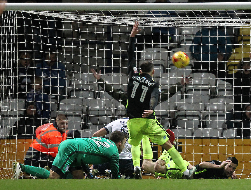 Preston North End's Chris Maxwell concedes a late penalty<br /> <br /> Photographer Mick Walker/CameraSport<br /> <br /> The EFL Sky Bet Championship - Preston North End v Brighton &amp; Hove Albion - Saturday 14th January 2017 - Deepdale - Preston<br /> <br /> World Copyright &copy; 2017 CameraSport. All rights reserved. 43 Linden Ave. Countesthorpe. Leicester. England. LE8 5PG - Tel: +44 (0) 116 277 4147 - admin@camerasport.com - www.camerasport.com