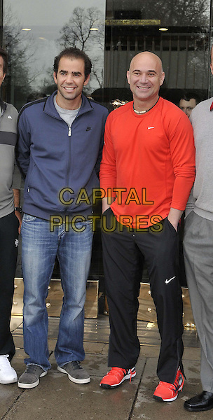 LONDON, ENGLAND - MARCH 03: Pete Sampras &amp; Andre Agassi attend the World Tennis Day Showdown press conference photocall, The Athenaeum Hotel, Piccadilly, on Monday March 03, 2014 in London, England, UK.<br /> CAP/CAN<br /> &copy;Can Nguyen/Capital Pictures