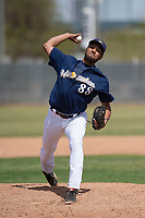 Milwaukee Brewers relief pitcher Michael Petersen (88) during a Minor League Spring Training game against the Kansas City Royals at Maryvale Baseball Park on March 25, 2018 in Phoenix, Arizona. (Zachary Lucy/Four Seam Images)